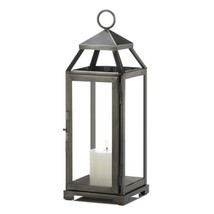 Medium Contemporary Brushed Pewter Finish Metal Candle Lantern - $25.69