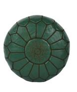 Handmade Moroccan Leather pouf Ottoman Luxury Pouffe Dark Green Pouf Foo... - $79.00