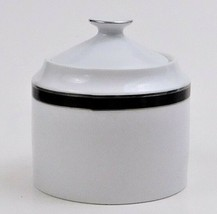 Nikko Fine China Black Tie Patra Covered Sugar Bowl Silver Trim Thailand - $49.50