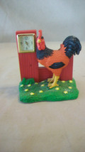 Small Resin Rooster with Clock in Fence, Multicolored - $14.84