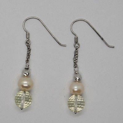 EARRINGS SILVER 925 RHODIUM HANGING WITH QUARTZ LEMON FACETED AND PEARLS