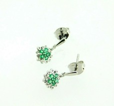 14k White Gold Genuine Natural Emerald and Diamond Drop Earrings (#J5072) - $495.00