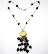 Necklace Silver 925, Yellow, Big Sphere Worked, Waterfall Onyx Black image 2
