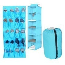 3pc Durable Aqua Storage Set Closet Hanging College Dorm Clothing Shoes ... - $46.48