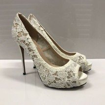 F-1101283 New Valentino White Lace Jewel Satin & Leather Pumps Size 39.5 US 9.5 - $461.70