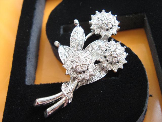FLORAL ALLOY HANDMADE CRYSTAL COMB BRIDE TIARA BROOCH BRIDAL ACCESSORIES  H06