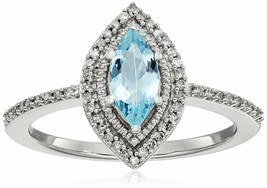 10K White Gold Marquise Aquamarine White Diamond Fashion Engagement Ring Size 8