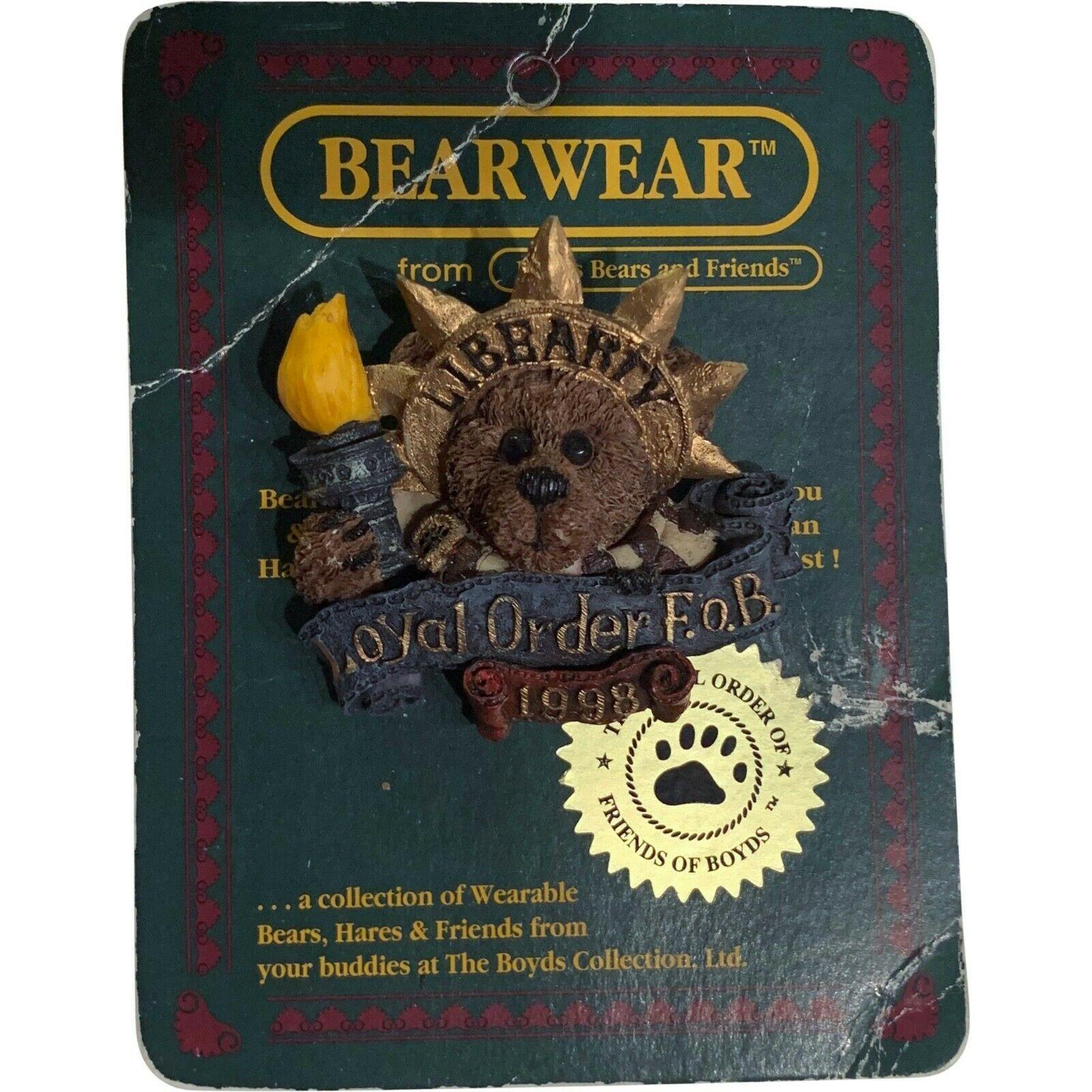 Boyds Bears Pin Bearwear Boyds And Friends Loyal Order F.O.B 1998 Lady Libearty - $4.99