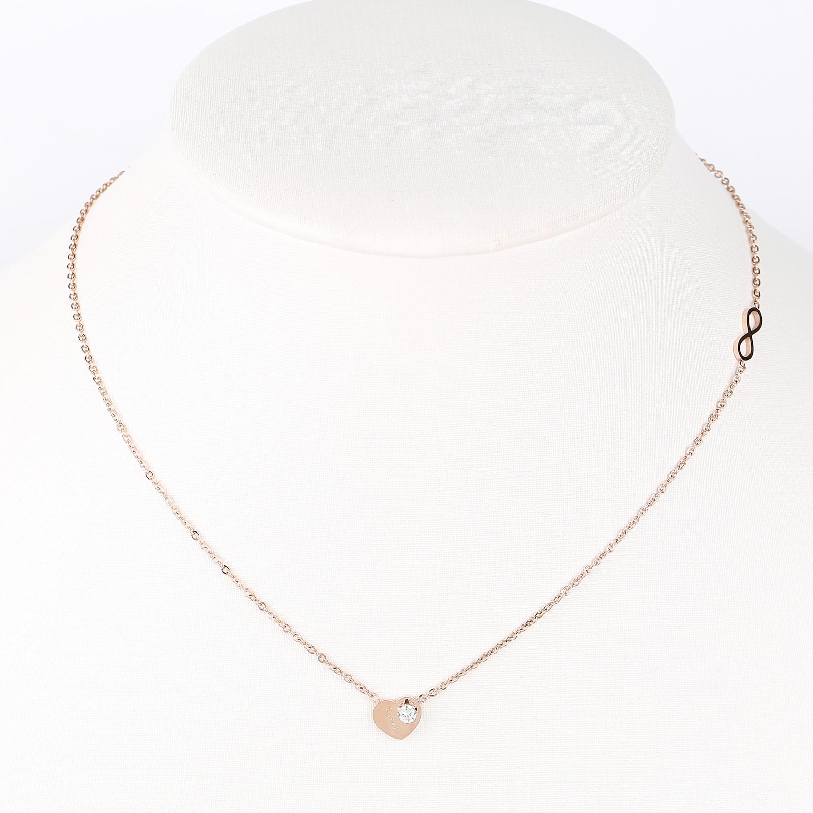 "UE- Trendy Rose Tone Designer ""Lovely"" Heart Necklace & Swarovski Style Crystal - $15.99"