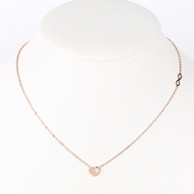 "UE- Trendy Rose Tone Designer ""Lovely"" Heart Necklace & Swarovski Style ... - $14.99"