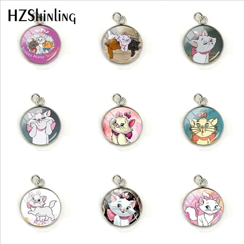 Primary image for 2019 New Fashion Marie Cartoon Pattern Glass Pendant The Aristocats Anime Jewelr