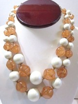 WHITE AND LIGHT BROWN ODD PUCKERED SHAPE BEADED DOUBLE STRAND NECKLACE H... - $24.00