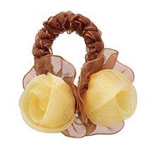 Elegant Rose Hair Rope Ponytail Holders Hair Headwear, Yellow