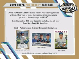2021 Topps Pro Debut Baseball Hobby Box 4 Auto or Relic (Presell) Releas... - $100.00
