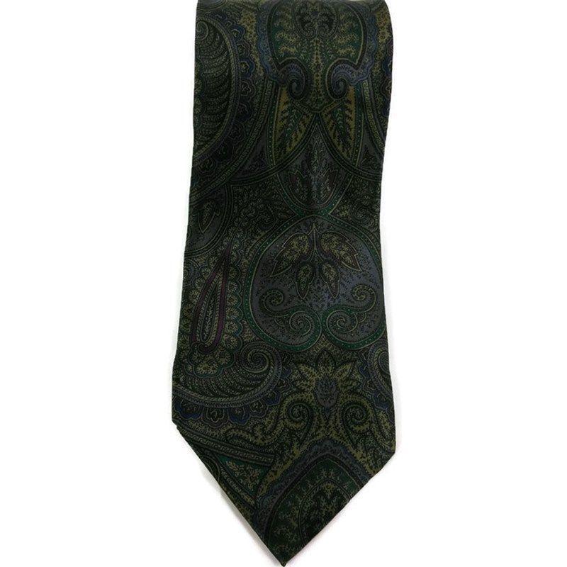Geoffrey Beene Men's Necktie 100% Silk Green Paisley