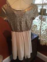 Forever 21 Gold Sequin Bodice and Ivory Skirt Short Sleeve Flowy Dress S... - $7.70