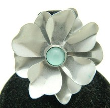 VTG Styled Silver Tone Flower Light Blue Cabochon Ring Size 6.25 - $19.80