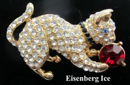 Vintage Eisenberg Ice Rhinestone Cat Kitty Pin Brooch - $38.95