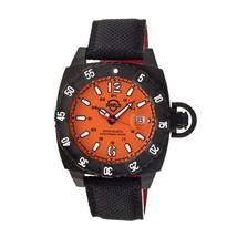 Shield Vujnovich Swiss Diver Leather-Band Watch w/ Date - Black/Orange - $399.00