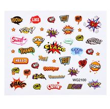 HS Store - 1Pcs WG-2100 Cute Designs Nail Sticker Water Transfer DIY - $2.23