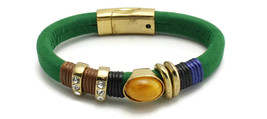 Green Strap Bracelet With Clear And Yellow Stone Accents And Magnetic Cl... - $7.49