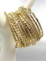 CHUNKY Multi Strands Gold Metallic Beads Twist Wrap Coil Wide Statement ... - €15,04 EUR