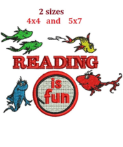 Dr Seuss Reading Thing digitized filled embroidery design Digital Download - $4.50