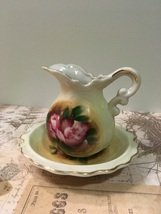 Vintage Small Water Pitcher with Basin Handpainted Cottage Farmhouse Chic  - $10.50