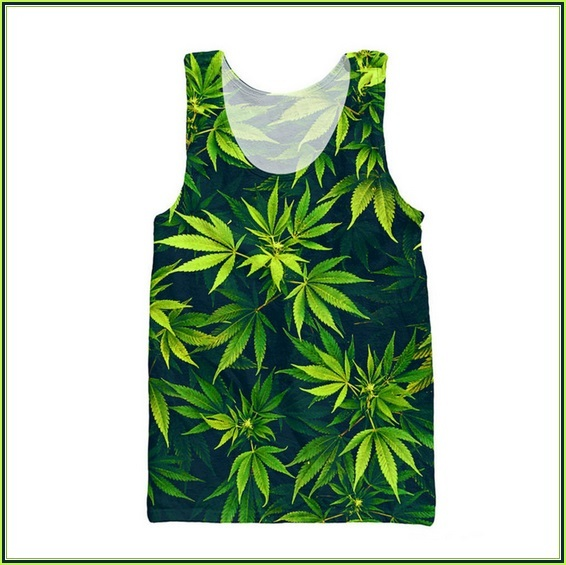 Marijuana Hemp Leaf Print Sleeveless O Neck Tank Top Men's or Womens Tee Shirt