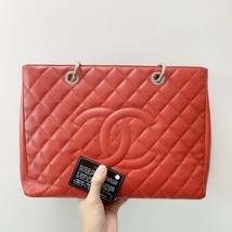 AUTH CHANEL RED QUILTED CAVIAR GST GRAND SHOPPING TOTE BAG SHW