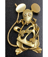 """Vintage Gold tone Metal Mouse with Cheese Brooch Pin (2 1/2 """" High) - $15.47"""