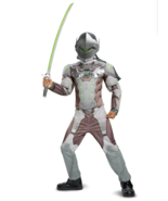 Overwatch Genji Child Boys Halloween Costume - Muscle Chest Various Size... - $24.00