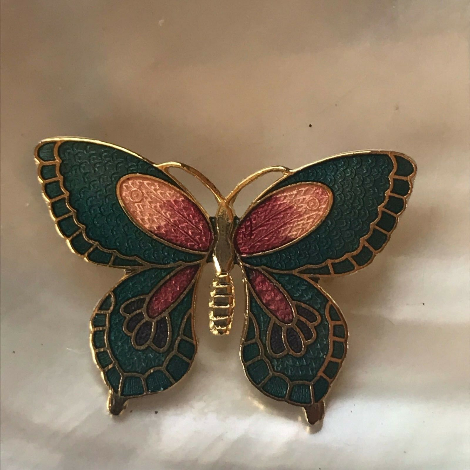 Estate Small Blue & Pink Enamel Cloisonne BUTTERFLY Moth Goldtone Pin Brooch –