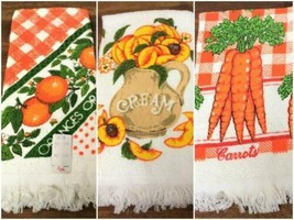 3 Vintage 1970s Kitchen Towels Oranges, Peaches & Cream, Carrots New Old... - $24.74