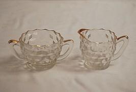 Cube Clear Gold Trim by Jeannette Creamer & Open Sugar Bowl Set Depressi... - $24.74