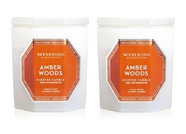 Slatkin Scentworx Amber Woods  3 Wick Candle 14.5 oz each - Lot of 2 - $39.99