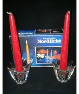 2 New In Box Candle Sticks Nordlicht Kerzenhalter West Germany Clear Gla... - $12.99