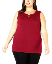 Jm Collection Womens Red Amore Sleeveless Grommet Shell Sweater Plus Siz... - $13.60