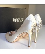 Badgley Mischka Cali Ivory Satin Women's Evening High Heels Open Toe Pum... - $113.85