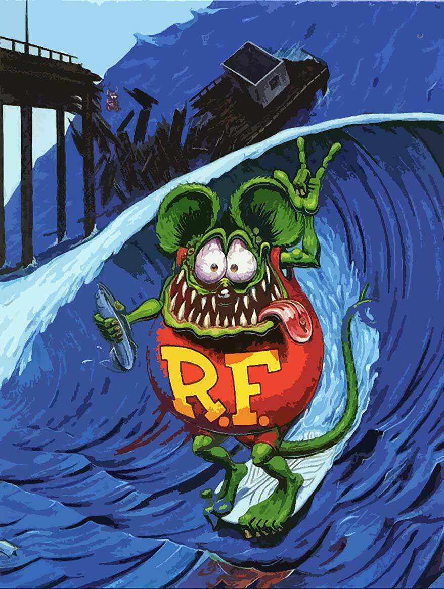 Primary image for Surfing Rat Fink Surfer Big Daddy Ed Roth Metal Sign