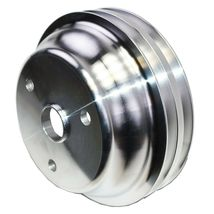 Chevy Small Block Long Water Pump Double Groove Aluminum Crankshaft Pulley image 8