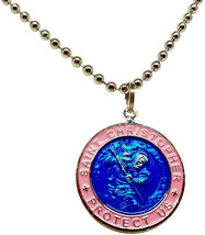 St. Christopher Surf Necklace, Large Pendant, Royal Blue with Pink Rim, ... - $45.09