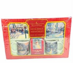 Thomas Kinkade mug cup coaster set NIB holiday memories Christmas village night - $48.15