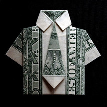 Origami Dress SHIRT with Tie Money Art Gift Real One Dollar Bill - $7.99