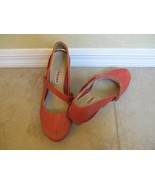 Tsubo Brick Red Leather Mary Jane Heels For Women Size 7.5 Eur 37.5 - $23.74