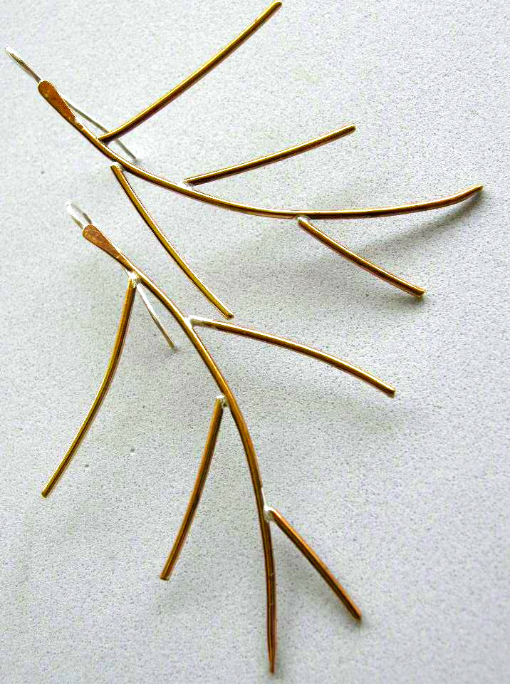Branch Earrings Bronze twig earrings minimalist Bronze Camp Sundance jewelry Gem