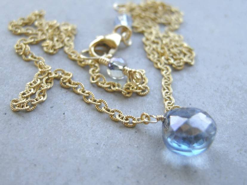 Blue Mystic solitaire Gold filled briolette necklace