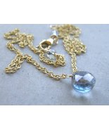 Blue Mystic solitaire Gold filled briolette necklace - $37.74