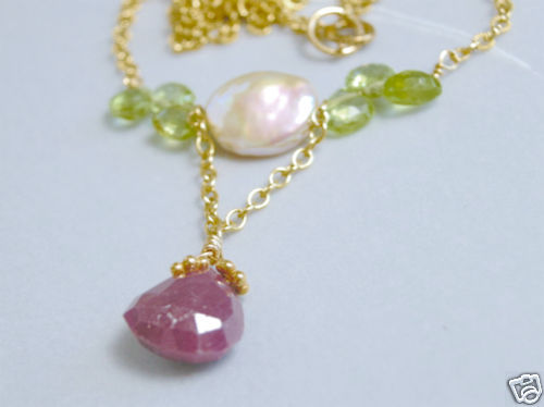 Ruby Necklace Peridot Pearl Camp Sundance necklace