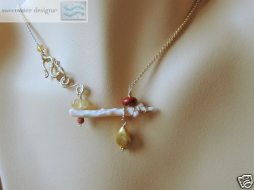 Coral branch asymmetrical Jasper Camp Sundance necklace
